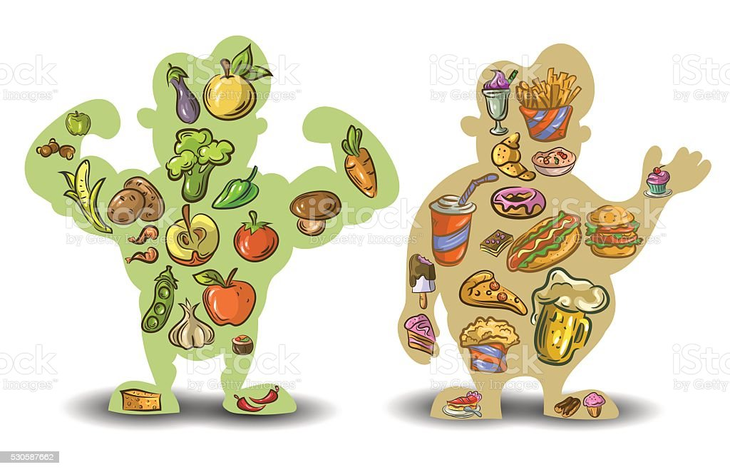 Human, thin, fat. Nutrition, diet, food on white background . Vector vector art illustration