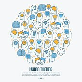Human thinking concept in circle with thin line icons of head silhouette. Vector illustration for survey about human brain, web page of psychologist, print media.
