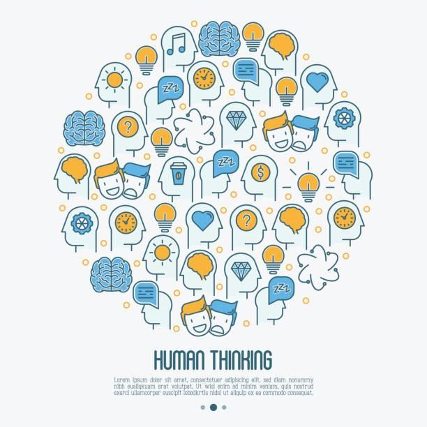 ilustrações, clipart, desenhos animados e ícones de conceito de pensamento humano em círculo com ícones de linha fina de cabeça silhueta. ilustração vetorial para pesquisa sobre o cérebro humano, a página web de psicólogo, mídia impressa. - profissional de saúde mental