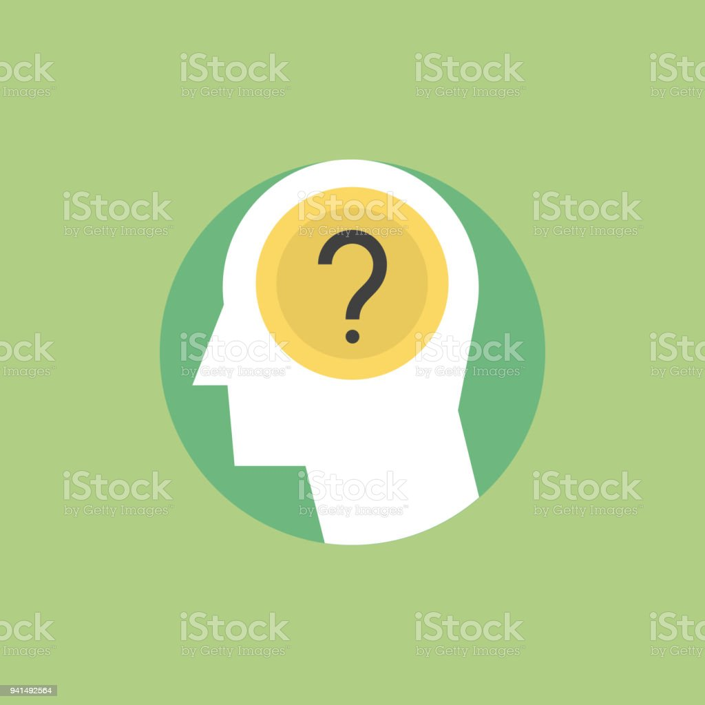 Human thinking process flat icon illustration Thinking process, brainstorming and generates new ideas, question mark in the head. Flat icon modern design style vector illustration concept. Abstract stock vector