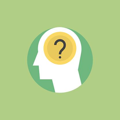 Human Thinking Process Flat Icon Illustration Stock Illustration - Download Image Now