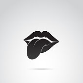 Human tongue and lips vector icon.