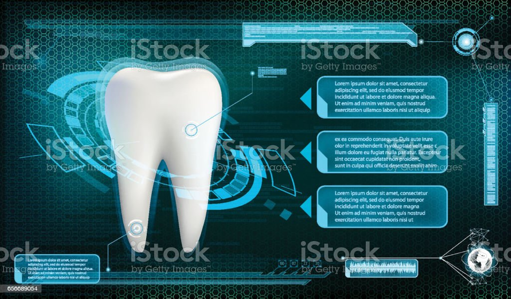 Human tooth on a technology background. Whitening and treatment. vector art illustration