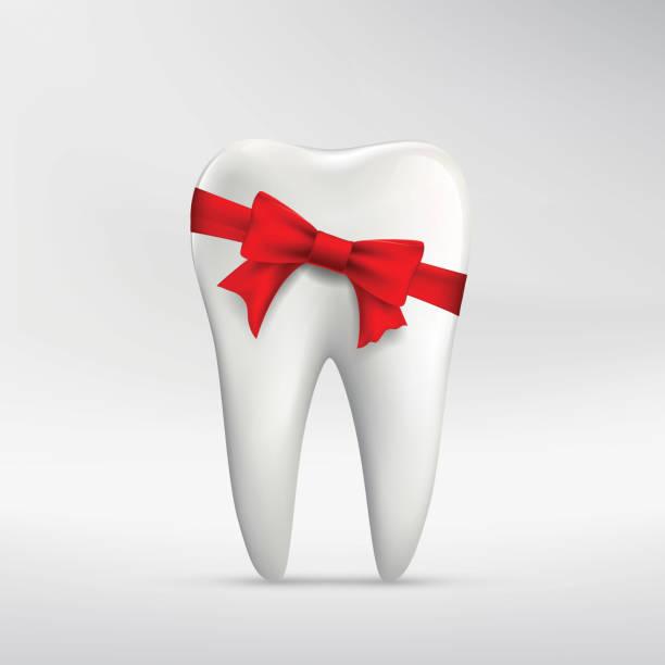 bildbanksillustrationer, clip art samt tecknat material och ikoner med human tooth with red ribbon - tandblekning