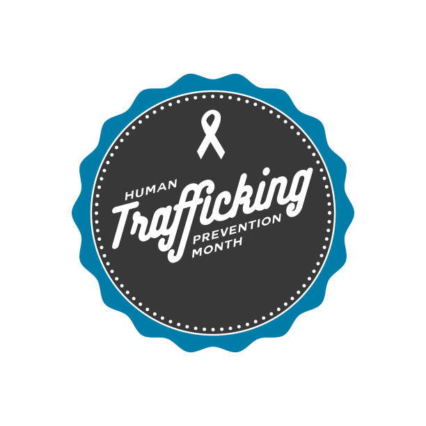Human Trafficking Prevention Month Label An event label isolated on a transparent background. Color swatches are global for quick and easy color changes throughout the file. The color space is CMYK for optimal printing and can easily be converted to RGB for screen use. human trafficking stock illustrations