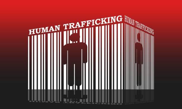 human trafficking relative image Barcode with human silhouette and human trafficking text within trafficking stock illustrations