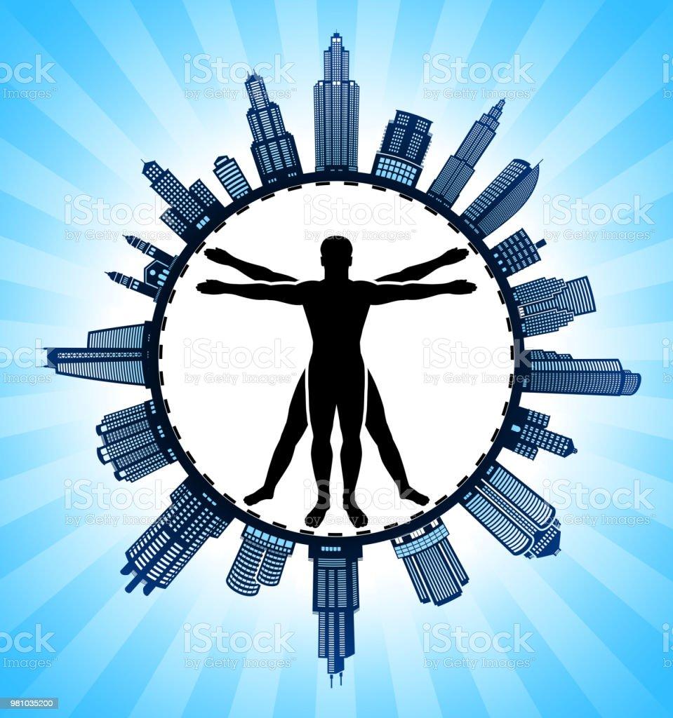 Menschliche Venturian Mann Moderne Stadtbild Skyline Hintergrund ...