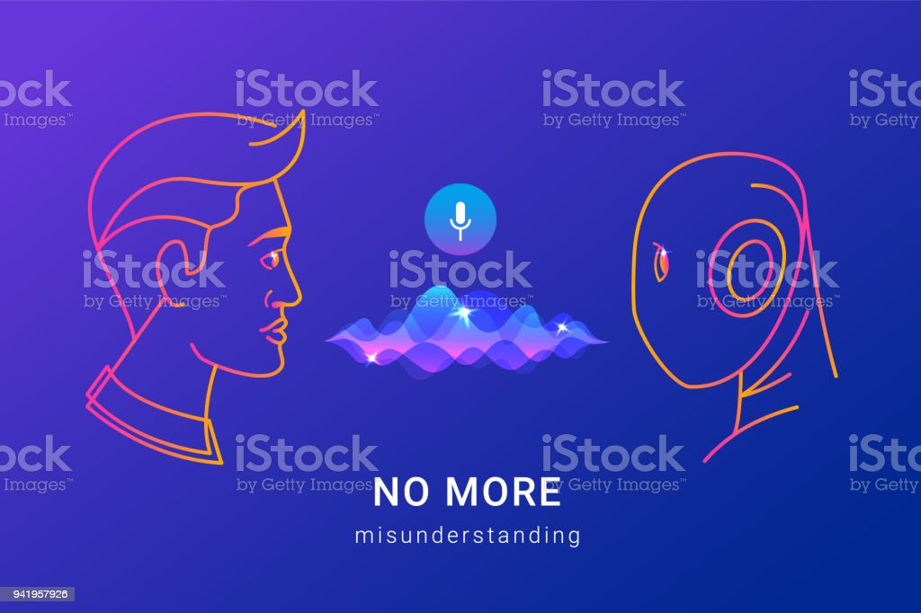 Human voice recognition and smart assistance vector art illustration
