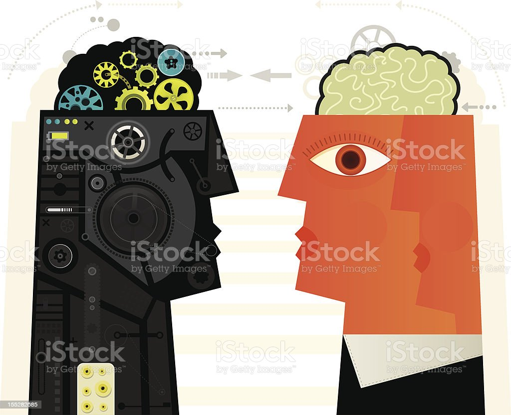 Human VS Machine vector art illustration