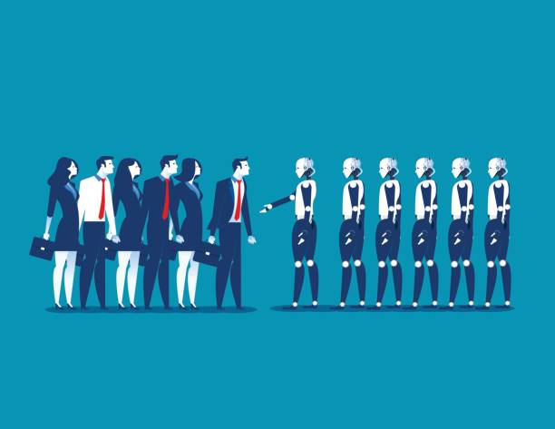Human vs robot,Businesspeople standing with robot. Concept business automation future illustration. Vector cartoon character and abstract vector art illustration