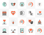 Flat line icons set of mental wellness, best friends society. Unique color flat design pictogram with outline elements. Premium quality vector graphics concept for web, logo, branding, infographics.