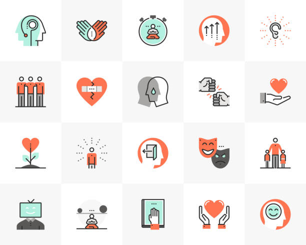 human wellness futuro next icons pack - achtsamkeit stock-grafiken, -clipart, -cartoons und -symbole