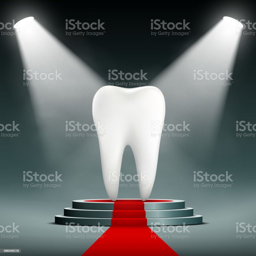 Human white tooth on the podium with searchlights. vector art illustration