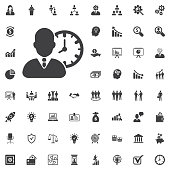 Human with clock icon simple vector illustration on white background. Business set of icons