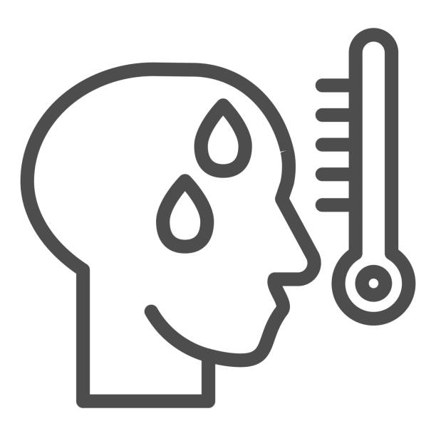 Human with fever line icon. Man head with high temperature on thermometer outline style pictogram on white background. Covid 19 symptoms for mobile concept and web design. Vector graphics. Human with fever line icon. Man head with high temperature on thermometer outline style pictogram on white background. Covid 19 symptoms for mobile concept and web design. Vector graphics one man only stock illustrations