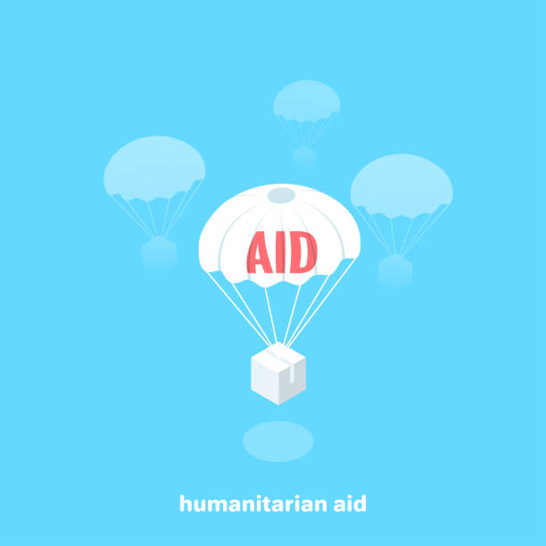 humanitarian aid 2 humanitarian aid flies by parachute, isometric image relief emotion stock illustrations