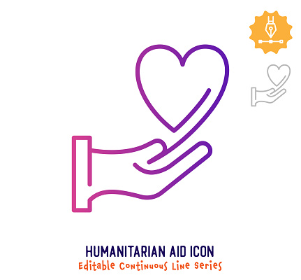 Humanitarian Aid Continuous Line Editable Stroke Line