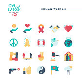 Humanitarian, peace, justice, human rights and more, flat icons set