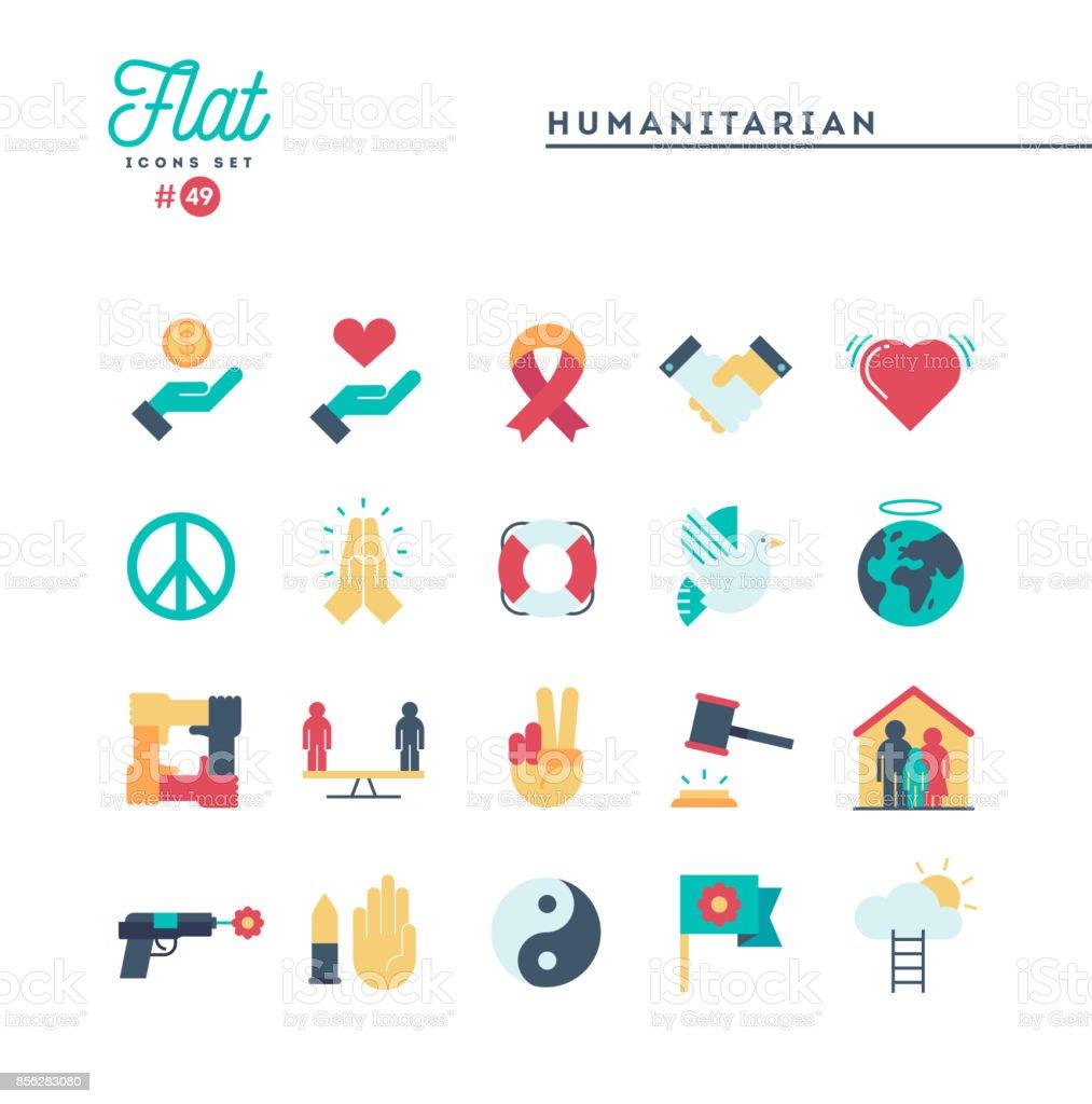 Humanitäre Hilfe, setzen Frieden, Gerechtigkeit, Menschenrechte und mehr, flache Symbole – Vektorgrafik