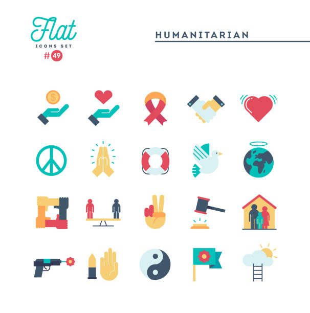 Humanitarian, peace, justice, human rights and more, flat icons set vector art illustration