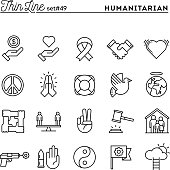 Humanitarian, peace, justice, human rights and more, thin line icons