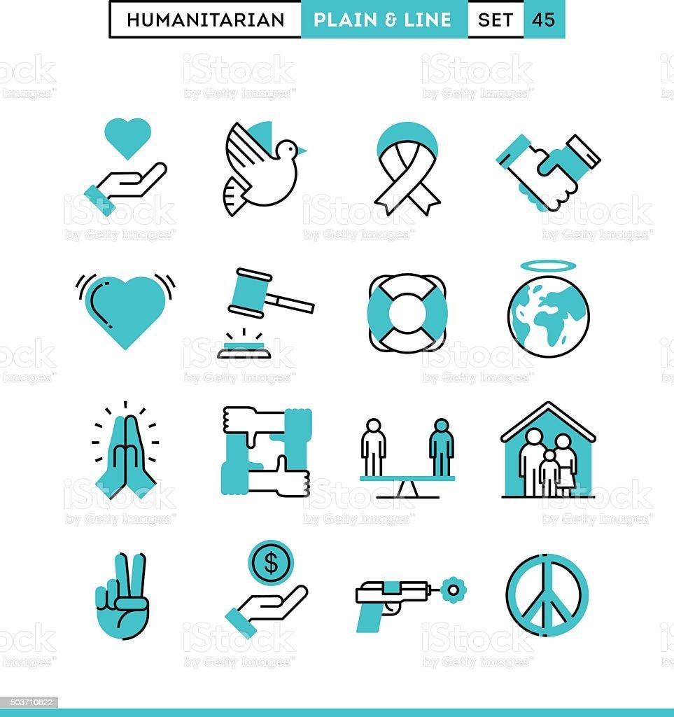 Humanitarian, peace, justice, human rights and more. vector art illustration