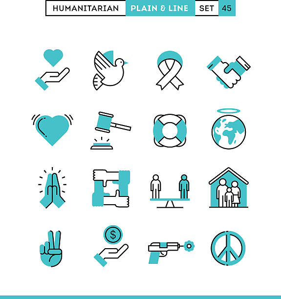Humanitarian, peace, justice, human rights and more. vector art illustration