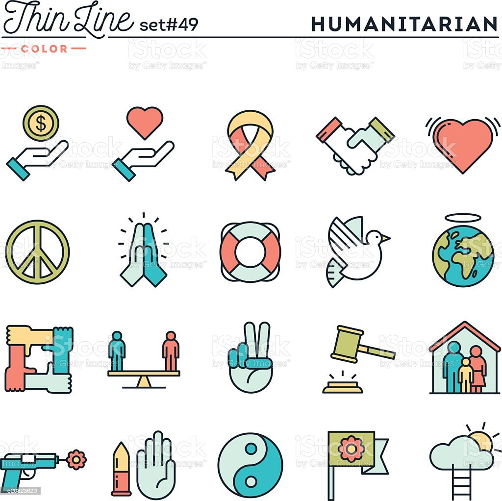 Humanitarian, peace, justice, human rights and more vector art illustration