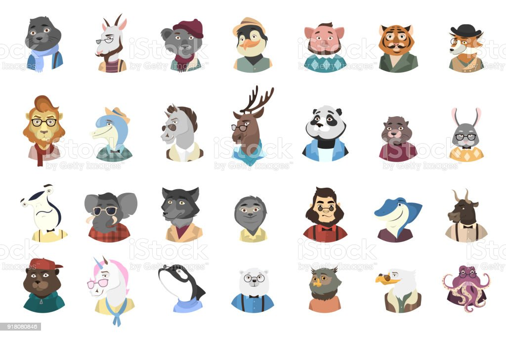Humanized animals icons set.