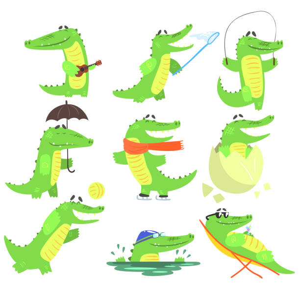 Humanized Crocodile Character Every Day Activities Collection Of Illustrations Humanized Crocodile Character Every Day Activities Collection Of Illustrations. Flat Bright Color Isolated Funny Alligators In Different Situations On White Background, crocodile stock illustrations