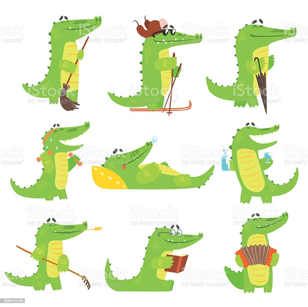 Humanized Crocodile Character Every Day Activities Set Of Illustrations - Illustration vectorielle