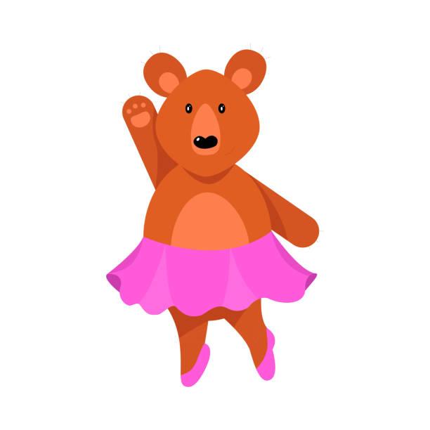stockillustraties, clipart, cartoons en iconen met een gehumaniseerd schattig beer meisje in roze rok staat met haar één arm verhoogd. vector illustratie geïsoleerd op witte achtergrond - alleen één meisje