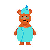 A humanized cute brown bear girl standing wrapped in blue towels. Funny bear life concept. Isolated vector illustration on white background in cartoon style.