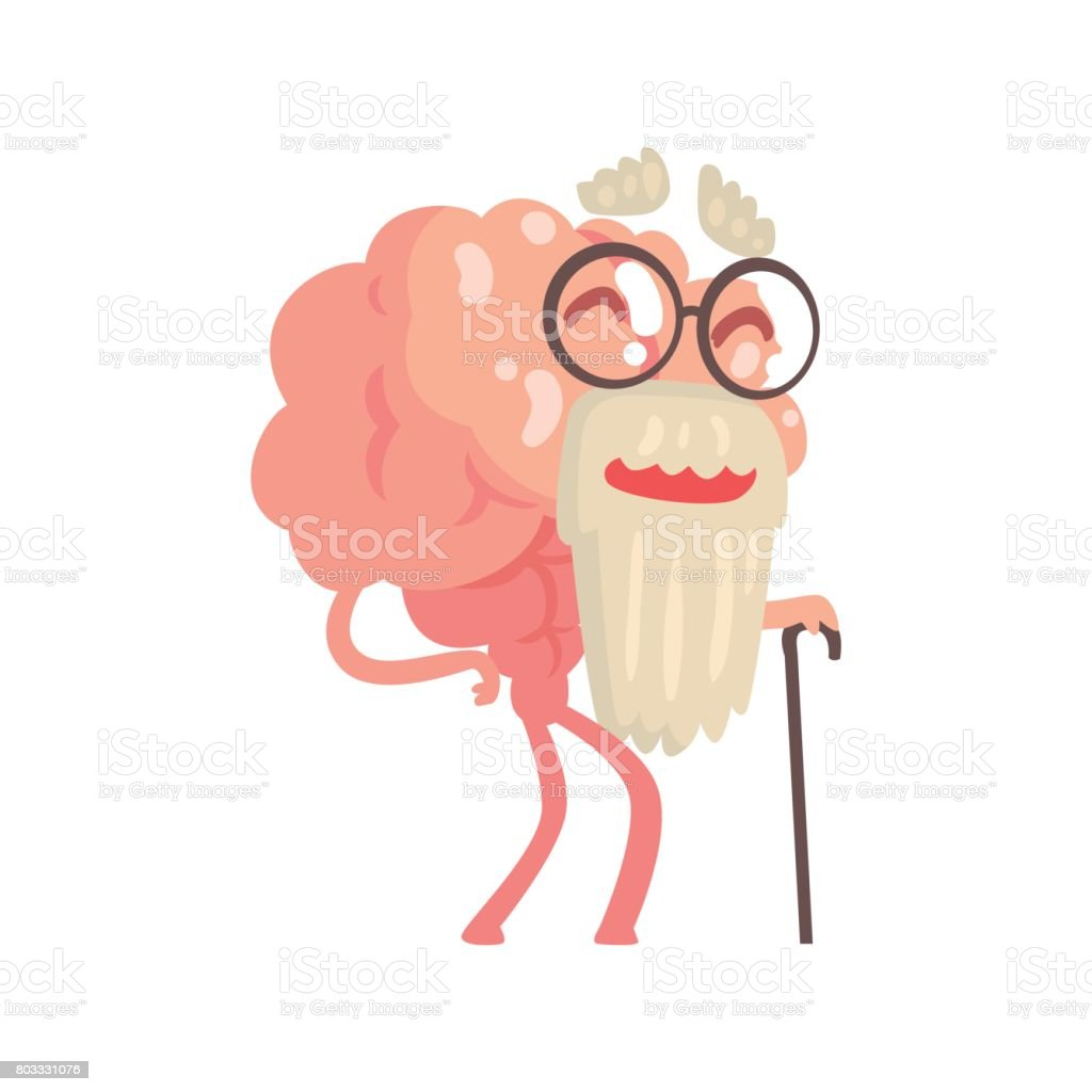 Ilustración de Humanizado Gris Barba Viejo Personaje De Cerebro De ...