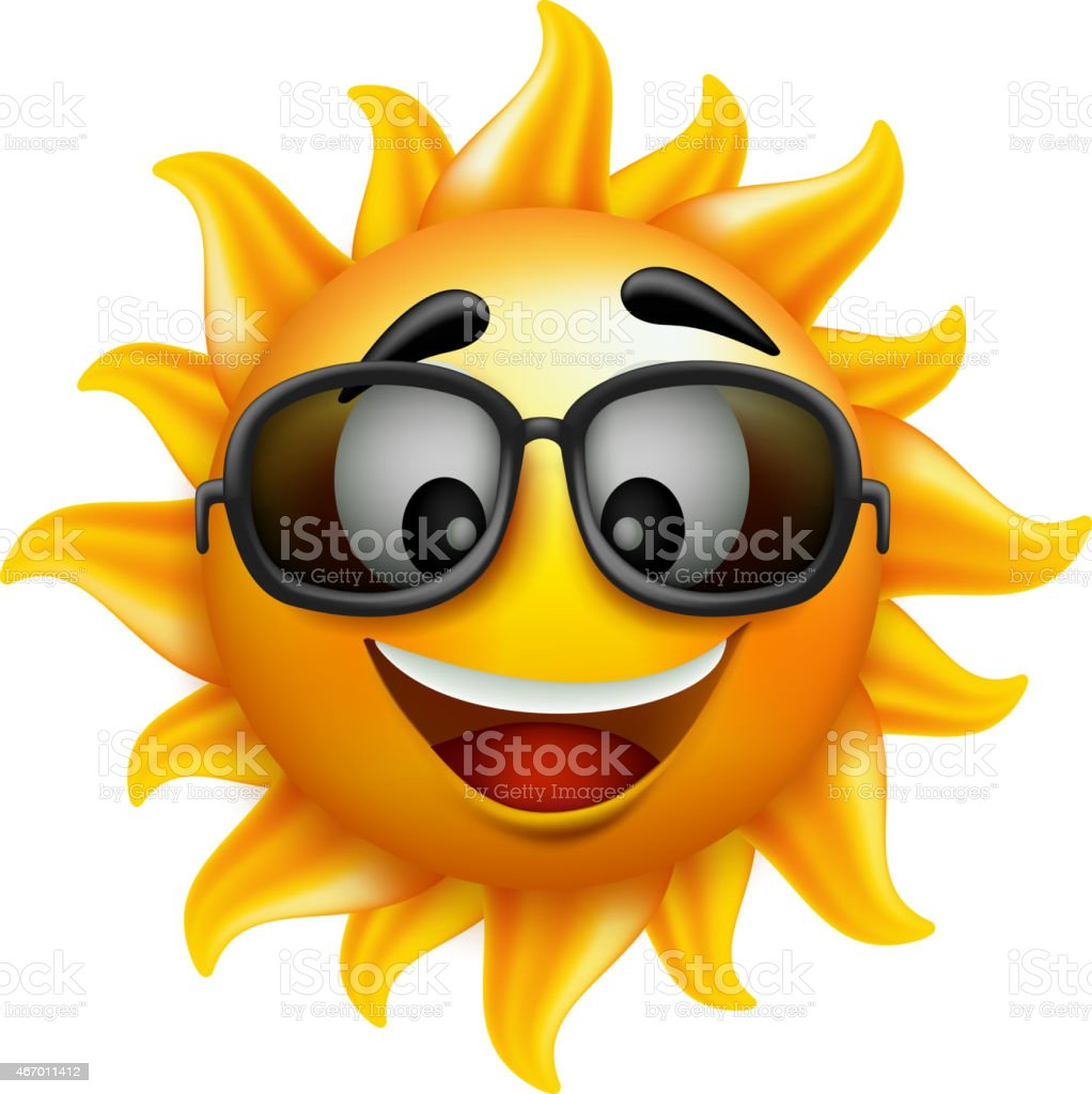 Smiling sun with sunglasses - Humanized Sun Wearing Sunglasses And Smiling Royalty Free Stock Vector Art