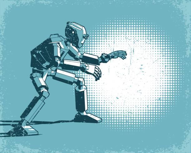 Bекторная иллюстрация Humanoid robot and spot light - vintage retro poster