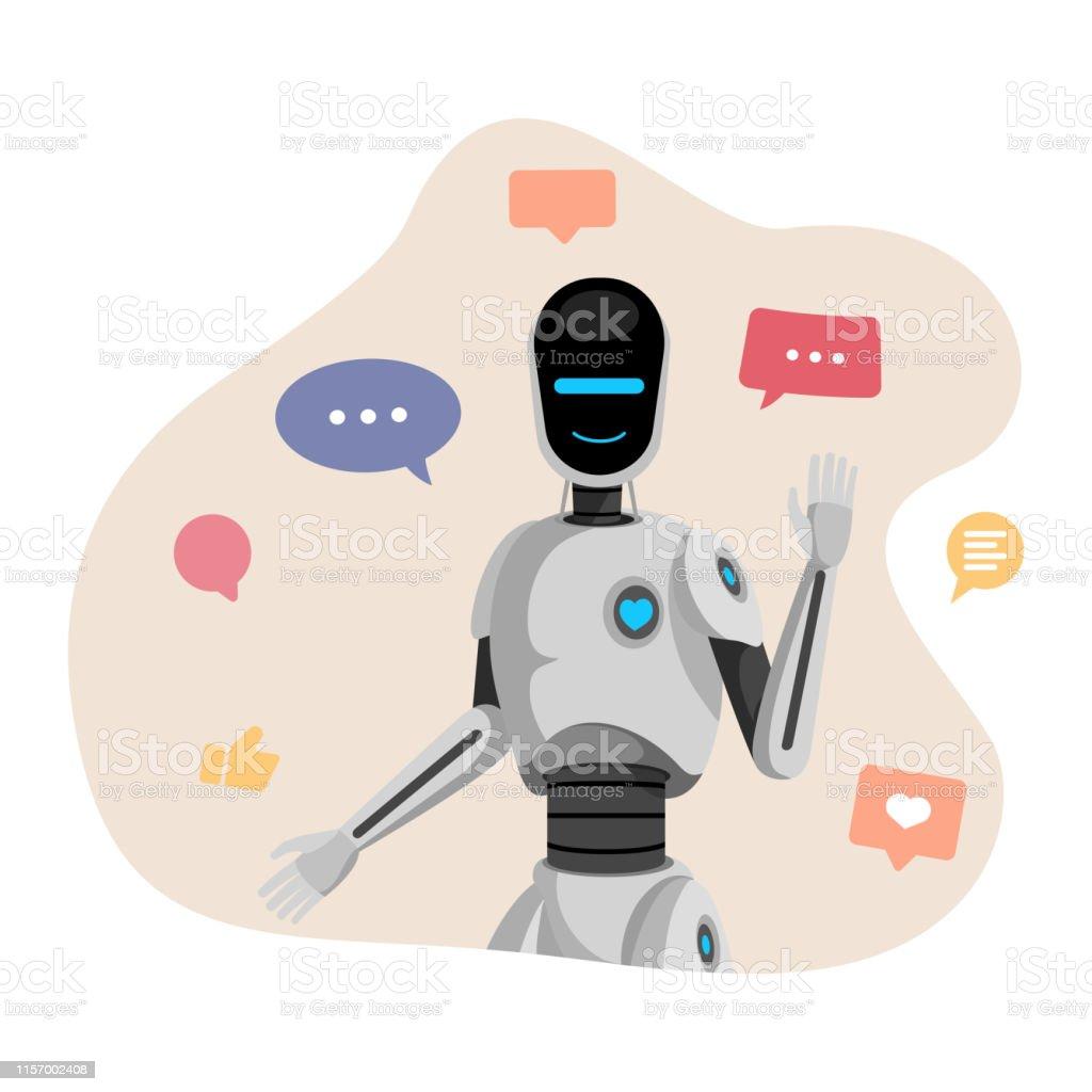 Humanoider Roboter Chatbot Vektorillustration Künstliche ...