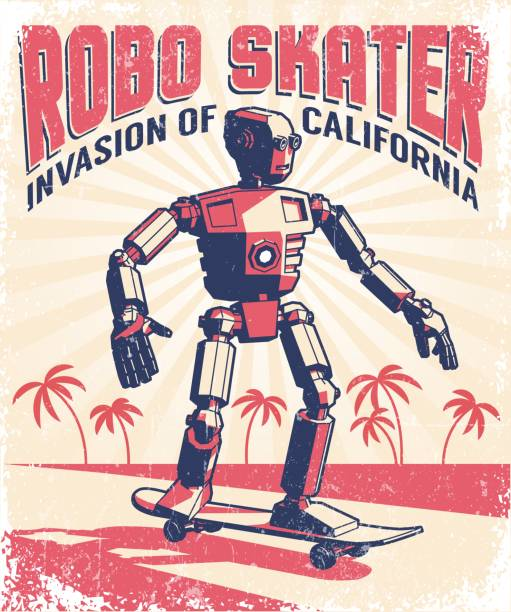 Humanoid robot riding a skateboard Humanoid robot riding a skateboard - vintage retro poster in a stamp printing style. Vector illustration. Grunge texture on separate layer. skate stock illustrations
