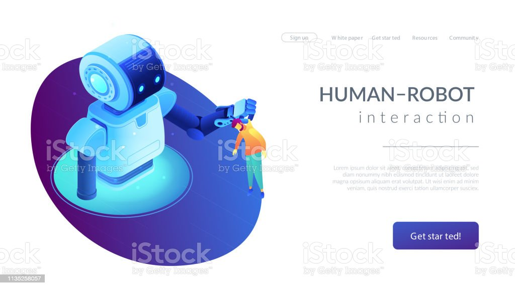 Humanrobot Interaction Isometric 3d Landing Page Stock Illustration