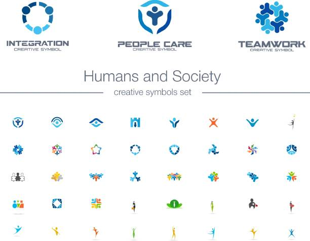 Humans group, Society creative symbols set. Humans group, Society creative symbols set. People protect, teamwork, collaboration abstract business concepts. Family, friend, leader icons abstract symbols stock illustrations