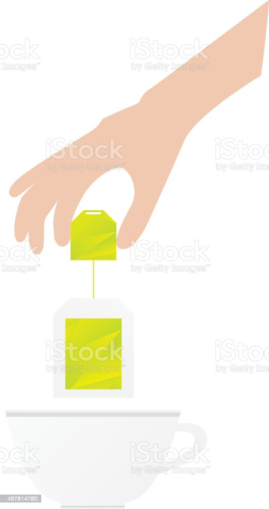 Humans hand is holding tea bag vector art illustration