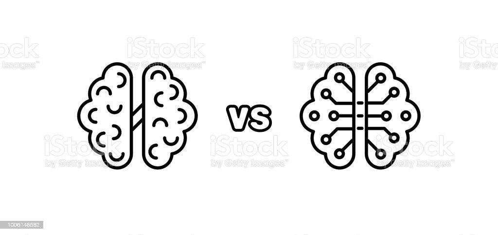 Los seres humanos vs Robots. Inteligencia artificial de AI y la inteligencia humana ilustración de los seres humanos vs robots inteligencia artificial de ai y la inteligencia humana y más vectores libres de derechos de abstracto libre de derechos