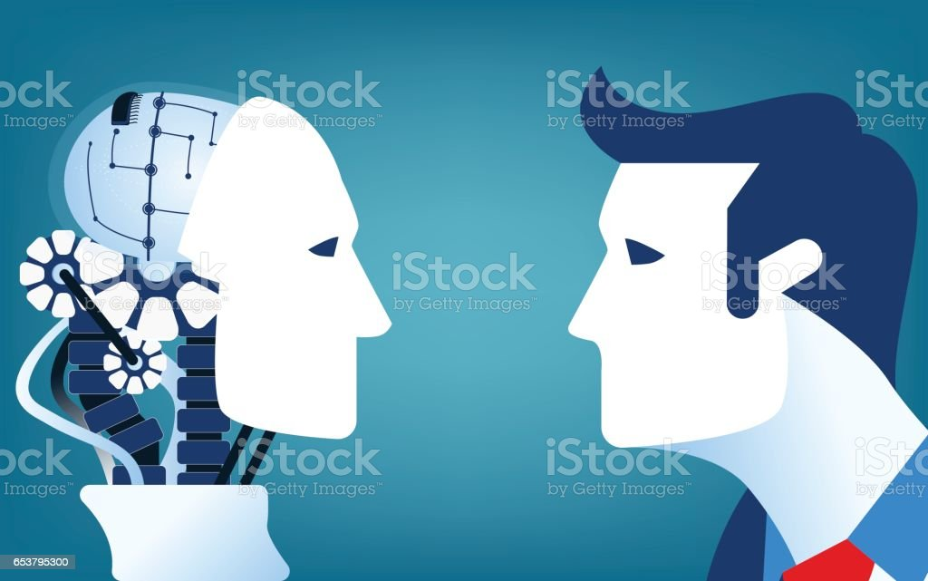 Humans vs Robots. Concept business illustration. Vector flat vector art illustration