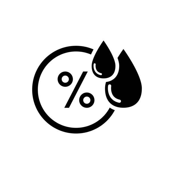 stockillustraties, clipart, cartoons en iconen met het pictogram van de luchtvochtigheid, vocht weer sensor, label sticker pictogram - luchtvochtigheid