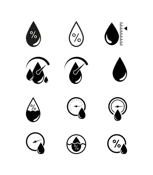 stockillustraties, clipart, cartoons en iconen met vochtigheid pictogram, vochtigheid weer sensor, etiket, sticker of pictogram - luchtvochtigheid