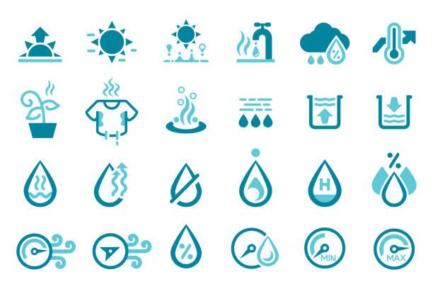 stockillustraties, clipart, cartoons en iconen met het weerpictogram van de vochtigheid. de lucht die maakt de ademhaling ongemakkelijk. - luchtvochtigheid