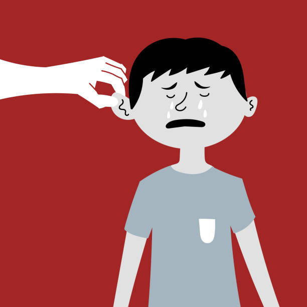 Humiliation and beating of a child. Pulling by the ear, the boy is crying. The slave trade of children. Child abuse Humiliation and beating of a child. Pulling by the ear, the boy is crying. The slave trade of children. Child abuse. Editable vector illustration human trafficking stock illustrations