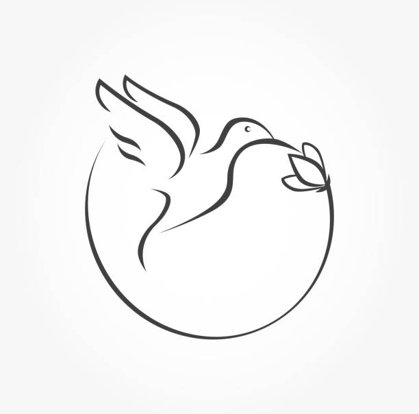 humming bird and flower stylized elegant simple icon vector - hummingbird stock illustrations
