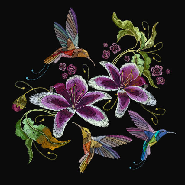 Humming bird and orchid exotic tropical flowers. Beautiful classical embroidery, humming-bird, orchids flowers. Template for clothes, embroideries, t-shirt design vector art illustration