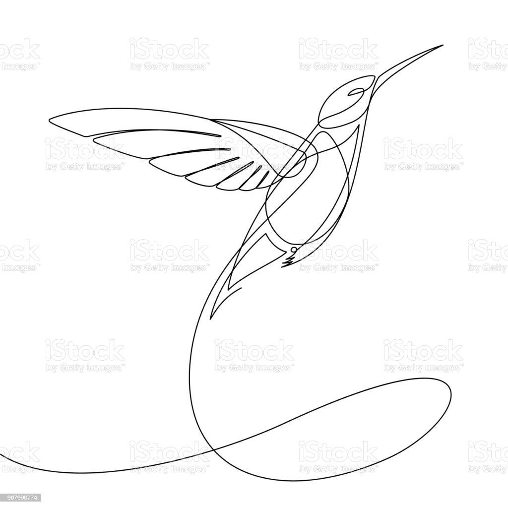 Humming Bird Continuous Line Vector - Векторная графика Абстрактный роялти-фри